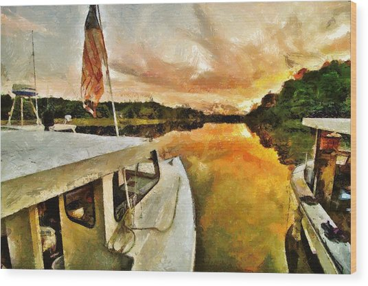 Workboats On San Damingo Creek Wood Print