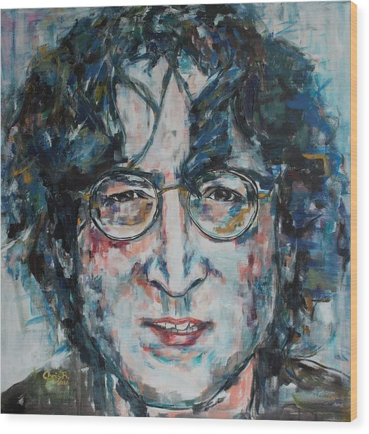 Working Class Hero Lennon Wood Print