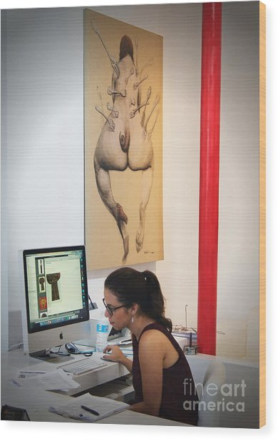 Working In The Art Gallery Wood Print by Dieter Lesche