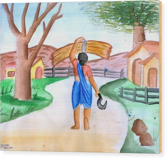 Working Woman Returning Home Wood Print by Tanmay Singh