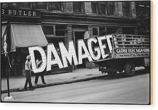 Workmen Hauling Damaged Sign Walker Evans Photo New York City 1930 Color Added 2008 Wood Print