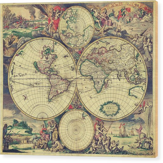 World Map 1689 Wood Print