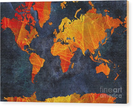 World Map - Elegance Of The Sun - Fractal - Abstract - Digital Art 2 Wood Print