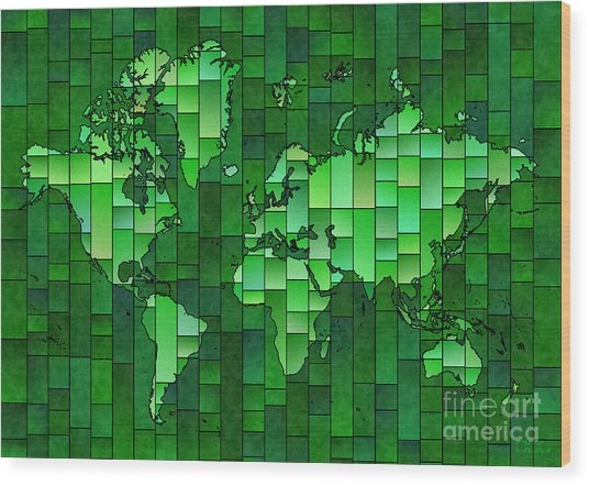 World Map Glasa Green Wood Print