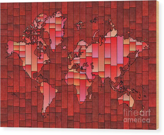 World Map Glasa Red Wood Print