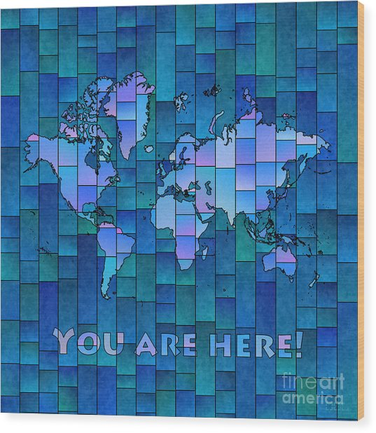 World Map Glasa You Are Here In Blue Wood Print