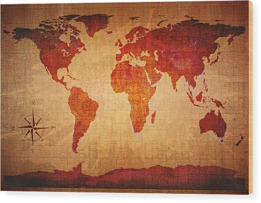 World Map Grunge Style Wood Print