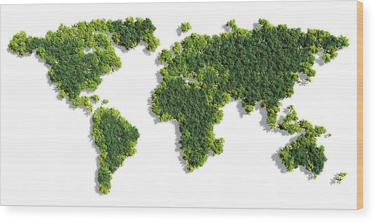 World Map Made Of Green Trees Wood Print