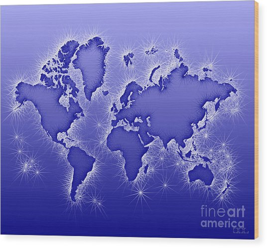 World Map Opala In Blue And White Wood Print