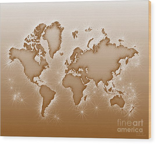 World Map Opala In Brown And White Wood Print