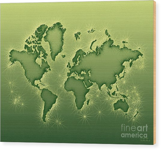 World Map Opala In Green And Yellow Wood Print