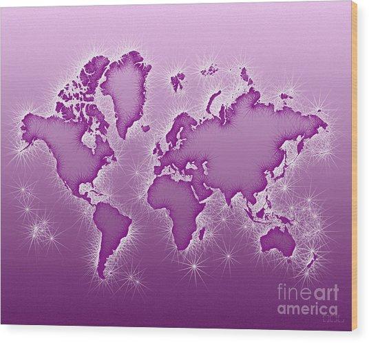 World Map Opala In Purple And White Wood Print