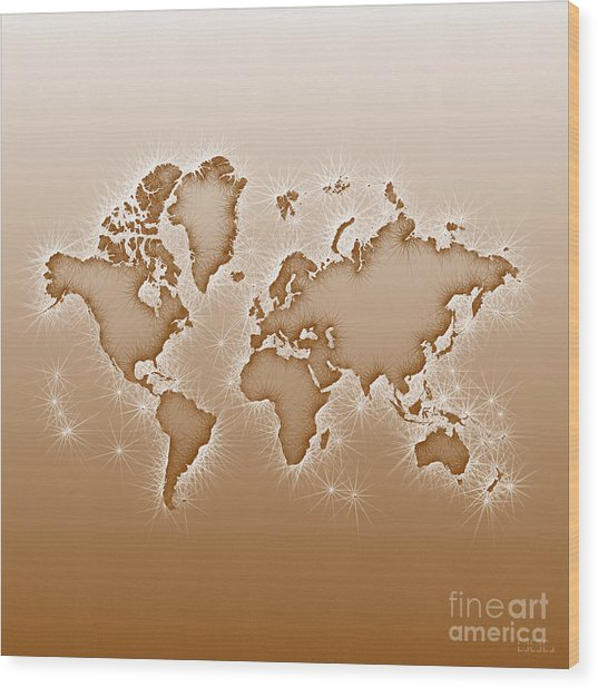 World Map Opala Square In Brown And White Wood Print