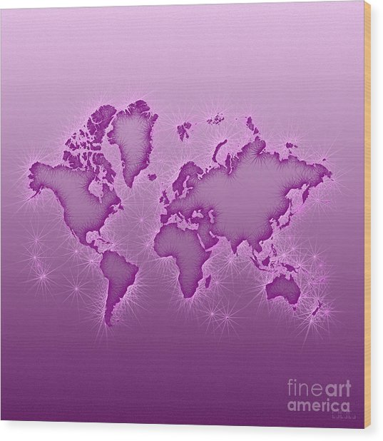 World Map Opala Square In Purple And Pink Wood Print