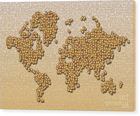 World Map Rolamento In Yellow And Brown Wood Print