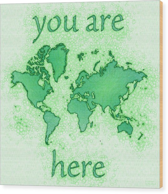World Map You Are Here Airy In Green And White Wood Print