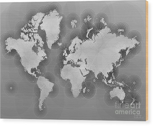 World Map Zona In Black And White Wood Print
