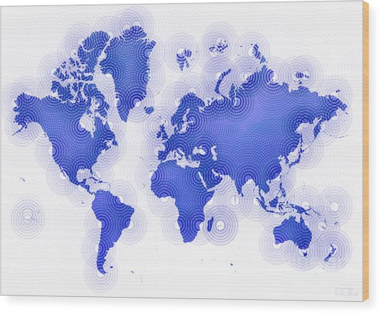 World Map Zona In Blue And White Wood Print