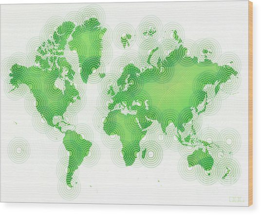 World Map Zona In Green And White Wood Print