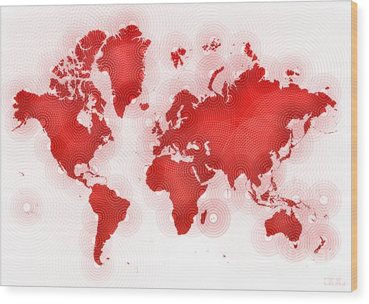World Map Zona In Red And White Wood Print