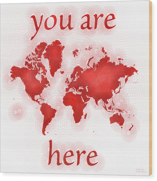 World Map Zona You Are Here In Red And White Wood Print