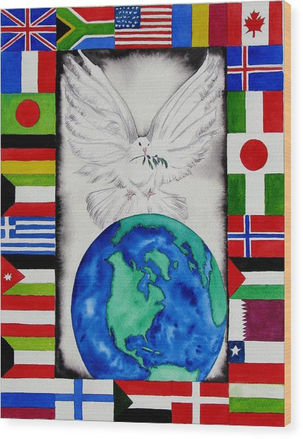 World Peace Wood Print by Maria Barry