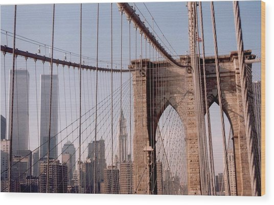 World Trade Center And Brooklyn Bridge Wood Print