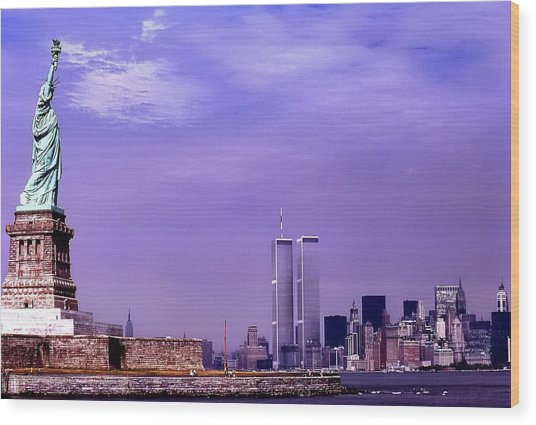 World Trade Center Twin Towers And The Statue Of Liberty  Wood Print