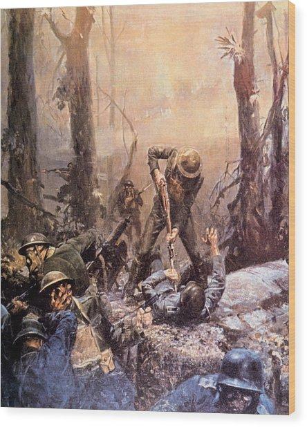 World War I, American Marines In The Wood Print by Everett