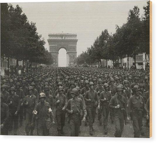 World War II. The Liberation Of Paris Wood Print by Everett