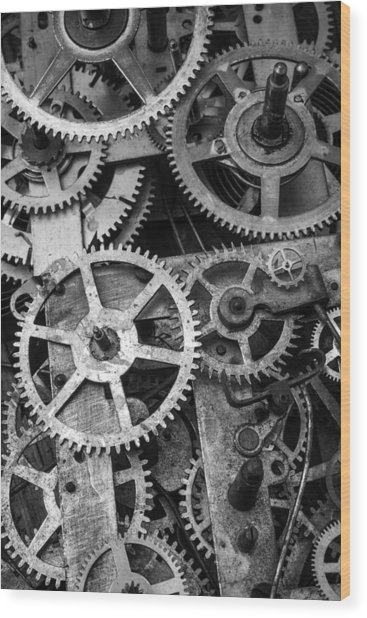 Worn Gears Black And White Wood Print