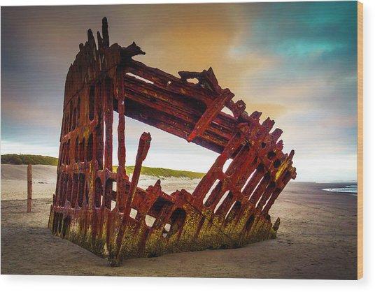 Worn Rusting Shipwreck Wood Print