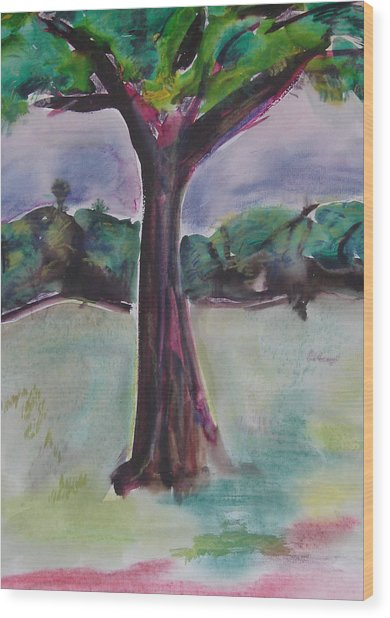 Wounded Tree Wood Print by Rima Bidkar
