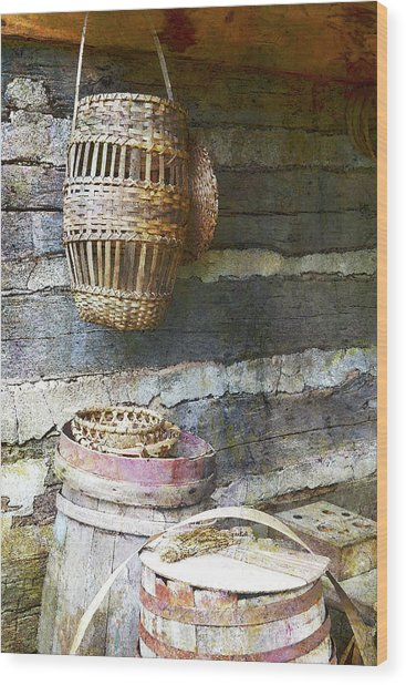 Woven Wood And Stone Wood Print