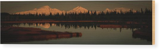 Wrangell Mountains At Sunset Wood Print