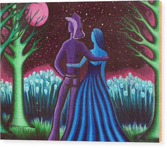 Wrangler's Moon Wood Print by Brenda Higginson