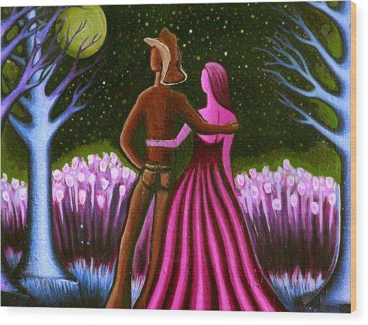 Wrangler's Moon II Wood Print by Brenda Higginson