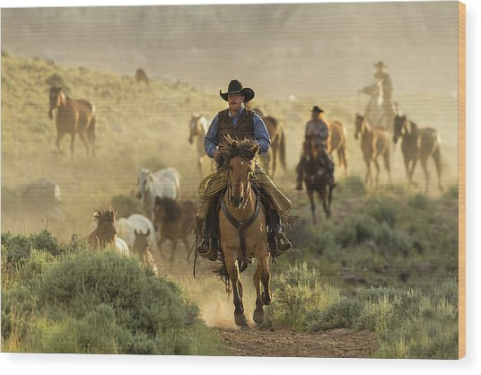 Wrangling The Horses At Sunrise At Absaroka Ranch, Wyoming Wood Print