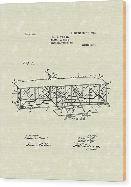 Wright  Brothers Flying Machine 1906 Patent Art Wood Print