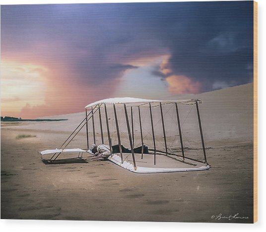 Wright Brothers Glider Wood Print by Brent Shavnore