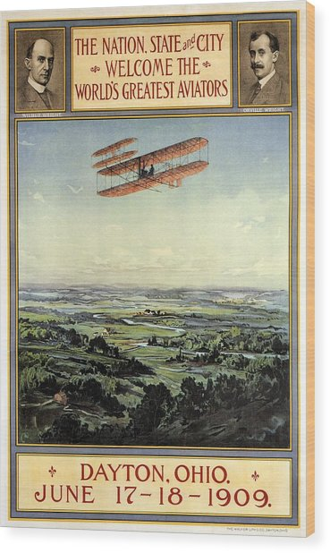 Wright Brothers - World's Greatest Aviators - Dayton, Ohio - Retro Travel Poster - Vintage Poster Wood Print
