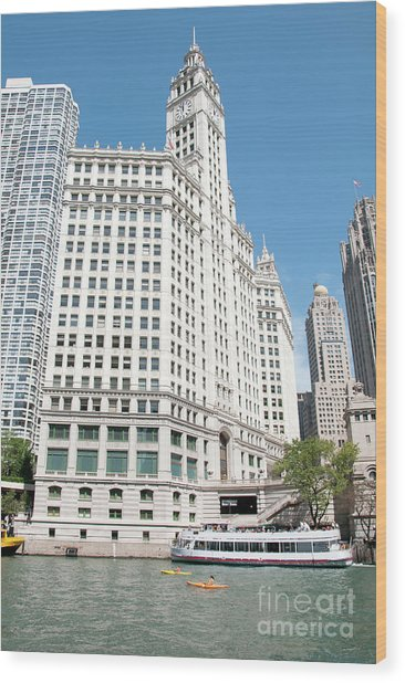 Wrigley Building Overlooking The Chicago River Wood Print