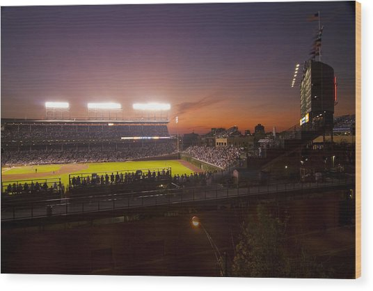 Wrigley Field At Dusk Wood Print