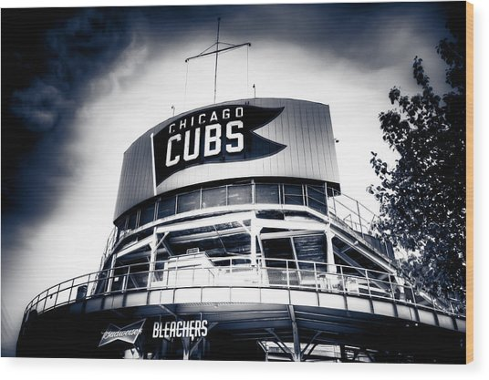 Wrigley Field Bleachers In Black And White Wood Print