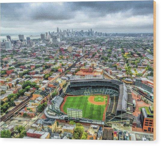 Wrigley Field Chicago Skyline Wood Print