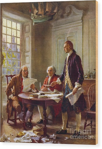 Writing The Declaration Of Independence, 1776, Wood Print