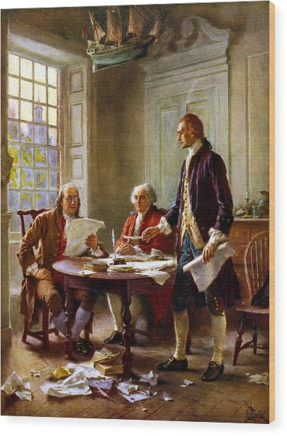Writing The Declaration Of Independence Wood Print