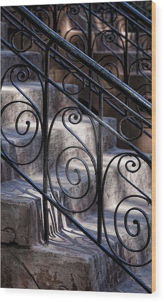 Wrought Iron Bannister  Wood Print by Robert Ullmann