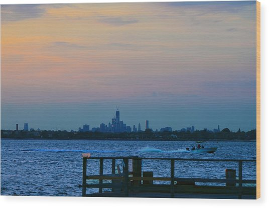 Wtc Over Jamaica Bay From Rockaway Point Pier Wood Print