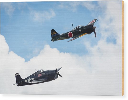 Ww II Dogfight Wood Print by Brian Knott Photography